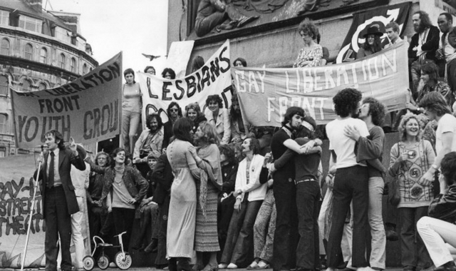 Gay Liberation Front Demo, 1971.  UK.