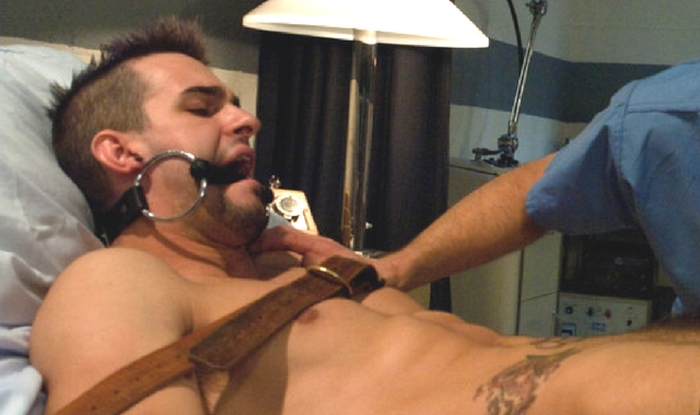Man edging his orgasm while being restrained and gagged
