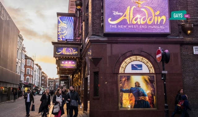 Prince Edward Theatre in Old Compton Street, Soho, London UK. Now playing Aladdin. Photo: Shutterstock