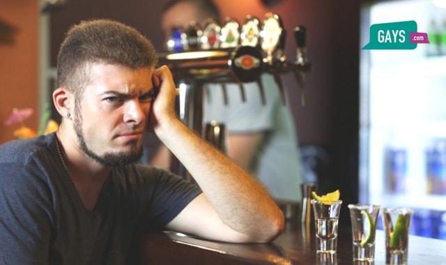 Man sitting in a bar alone