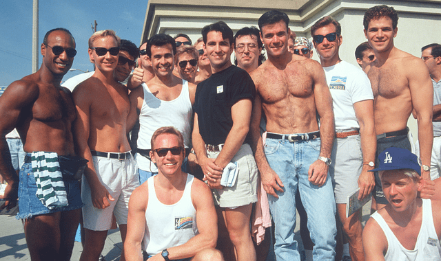 Group of gay men at the Aids Walk West Hollywood. Gays.com