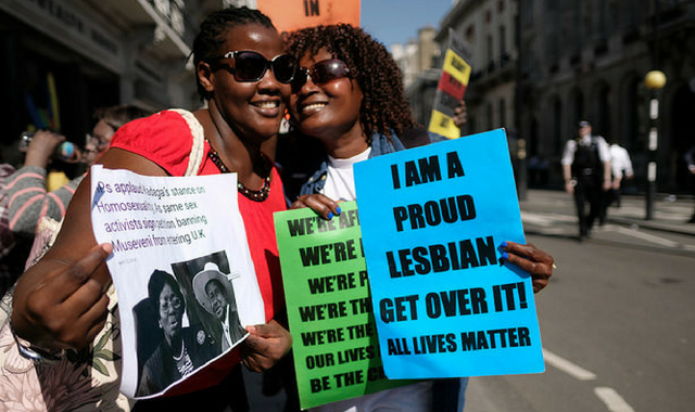 Protesters against the criminalisation of LGBT rights in Commonwealth countries