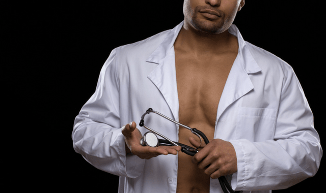 Shirtless, sexy doctor with a stethoscope.