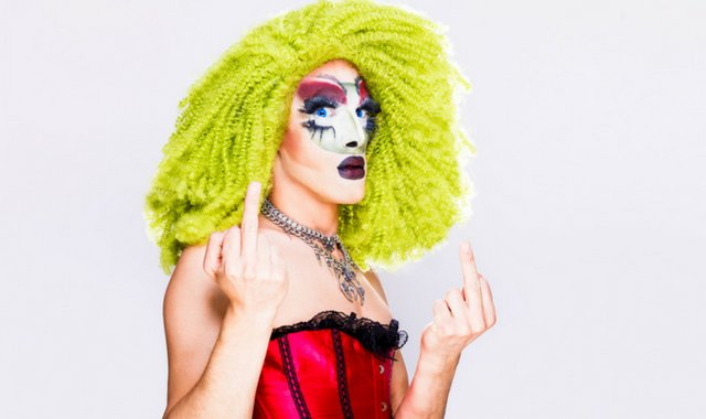 drag queen giving the finger