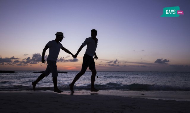 two gay men on a beach in the sunset